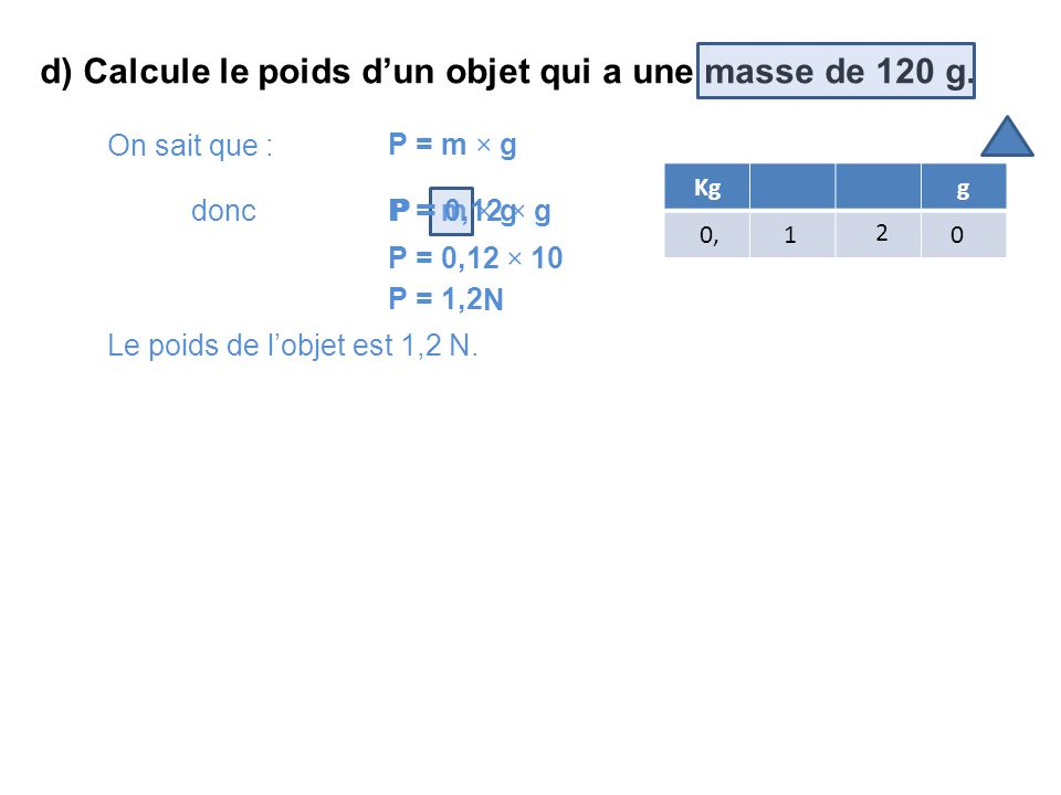 calculer le poids d un objet