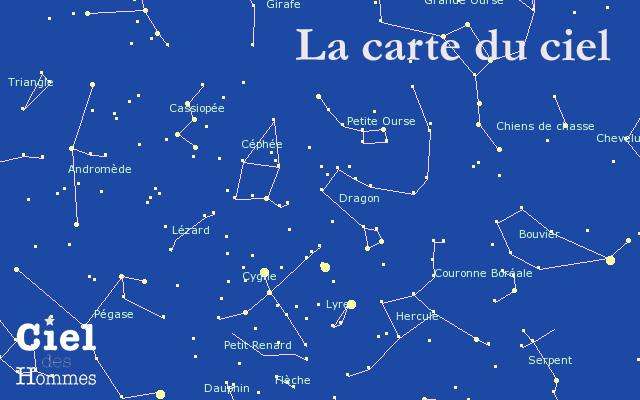 carte du ciel planetes