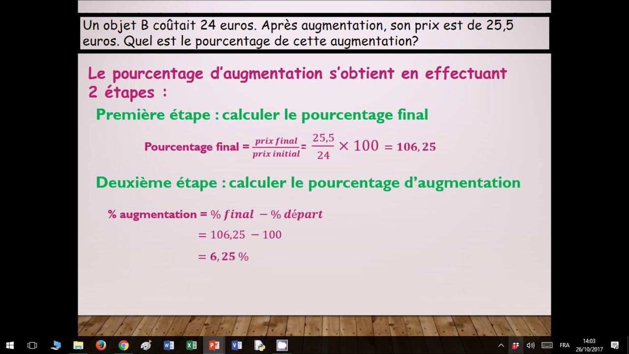 comment calculer un pourcentage d augmentation