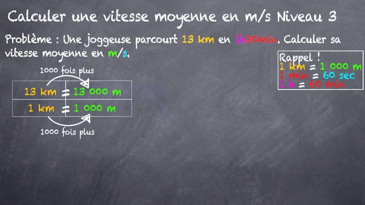 comment calculer une vitesse moyenne