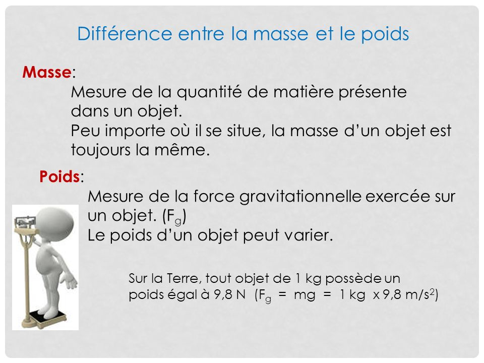 difference entre masse et poids