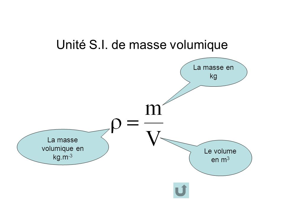 masse volumique et densite