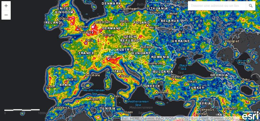 pollution lumineuse carte