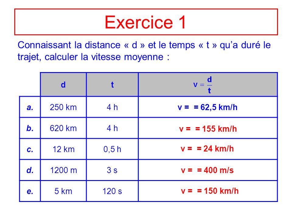 calcul vitesse km h
