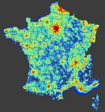 carte de pollution lumineuse
