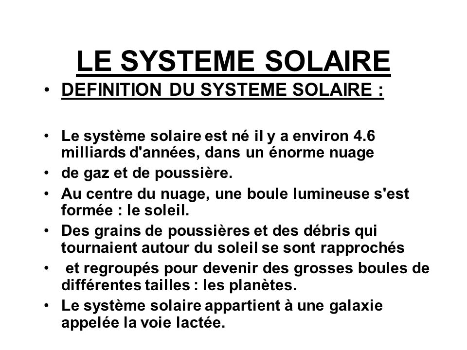 definition systeme solaire